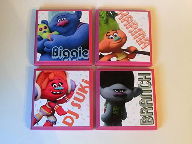 trolls set 2 room wall plaques set of 4 girls room decor
