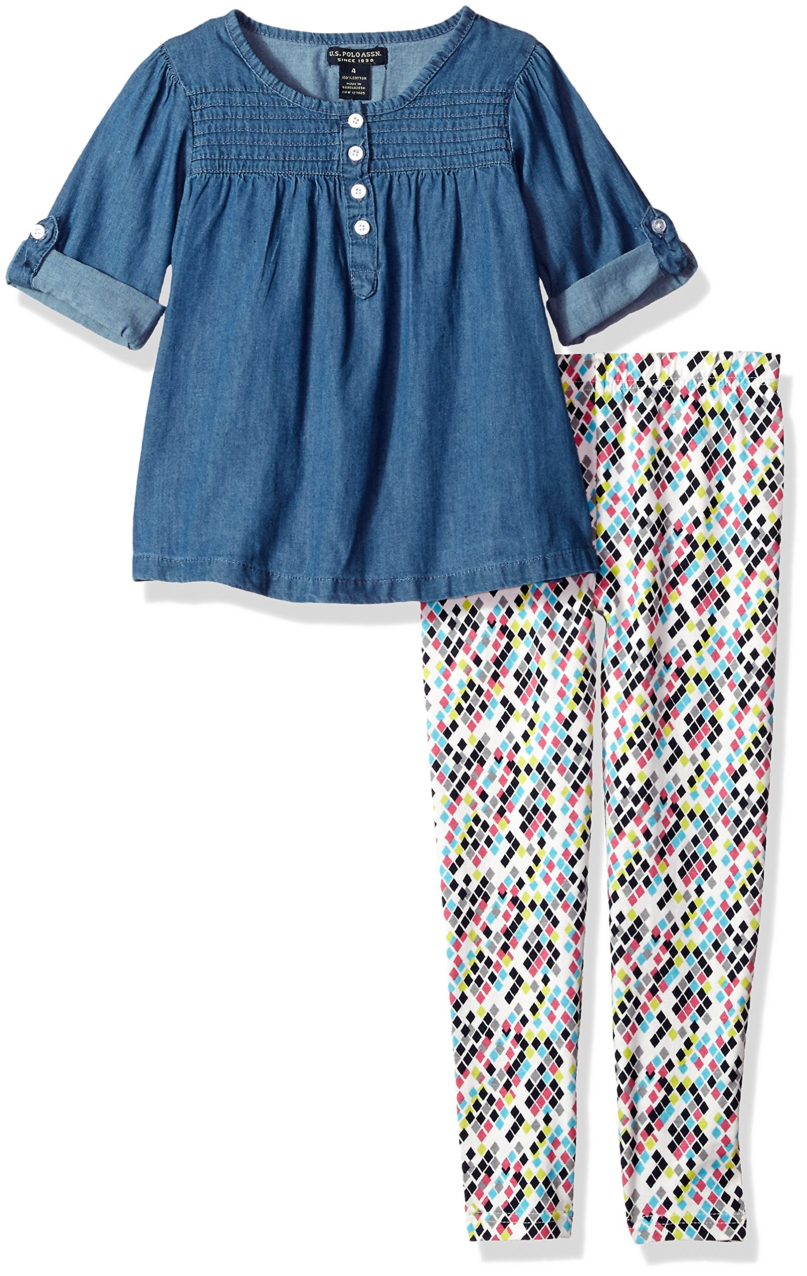 U.S. Polo Assn. Girls' Big Fashion Top and Legging Set, Blue Wash-KZ36, 10 by U.S. Polo Assn. (Image #1)