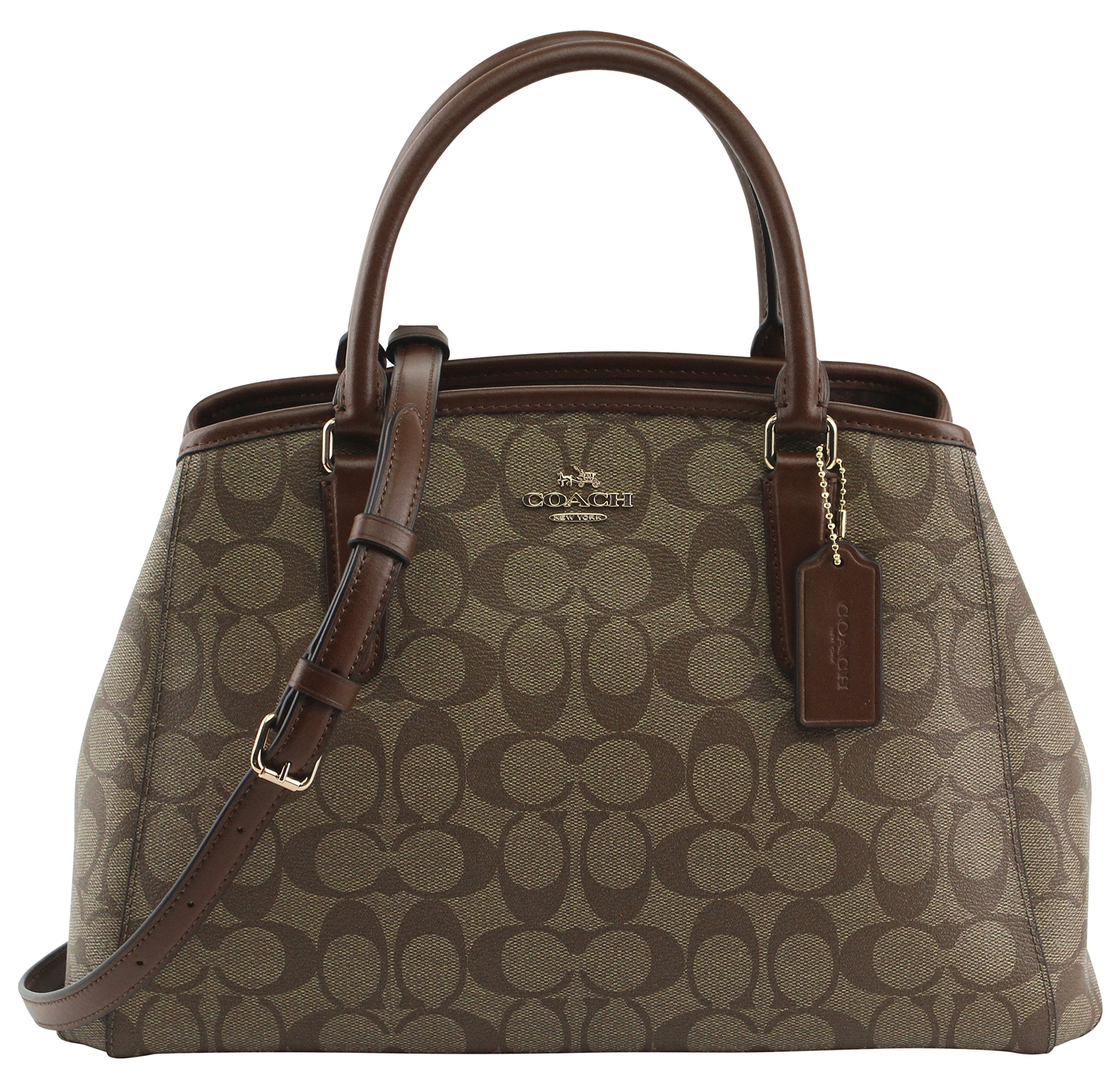 Coach Women's Signature Small Margot Carryal Hand Bag, Style F58310, Im Khaki Saddle