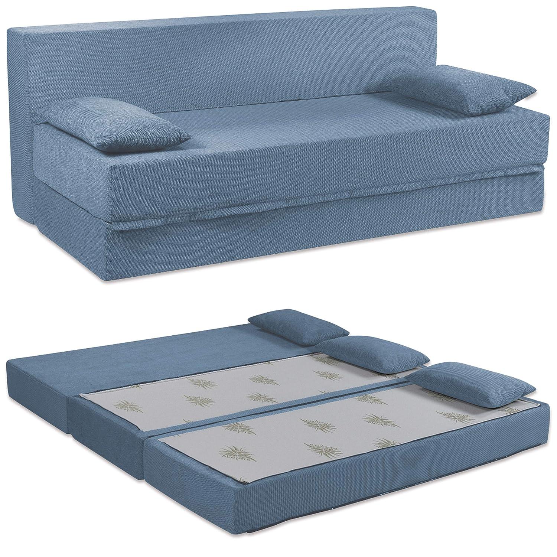 Baldiflex Sofá Cama de 3 Plazas Espuma viscoelastica, Modelo Tetris. Confortable Funda extraíble y Lavable. Color Jeans.