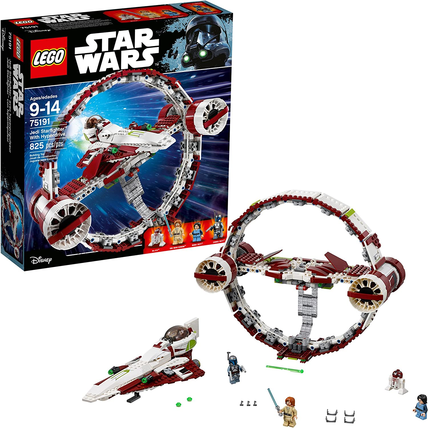 Amazon Com Lego 6175769 Star Wars Jedi Starfighter With Hyperdrive 75191 Building Kit 825 Pieces Toys Games