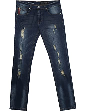 c68924b176700d Ma Croix Mens Skinny Fit Stretch Jeans Distressed Ripped Denim Pants 04-09  (32X32
