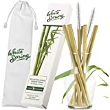 Bamboo Drinking Straws from White Spring   Reusable, Organic   8 Straws in Presentation Box   2 Long Cleaning Brushes   Cotton Carry Bag