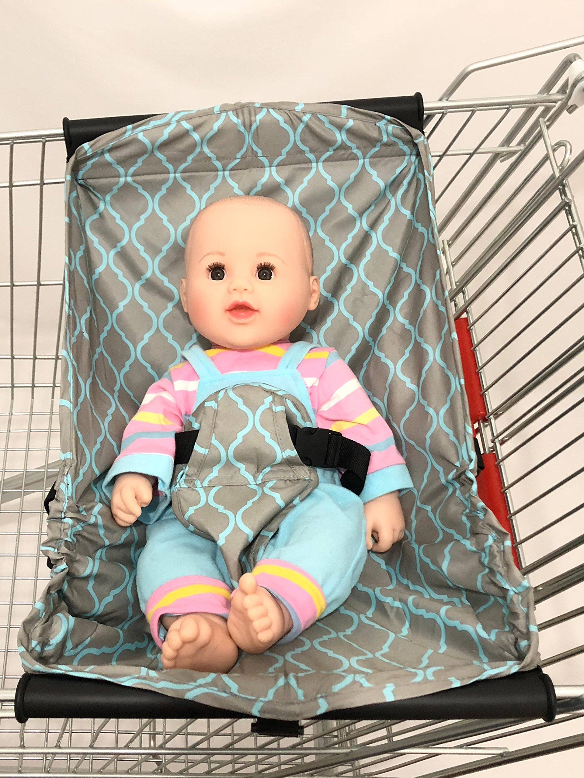 4 Hooks for Larger Load-Bearing Baby Shopping Cart Hammock/Shopping Cart Bed for Newborn (Grid)