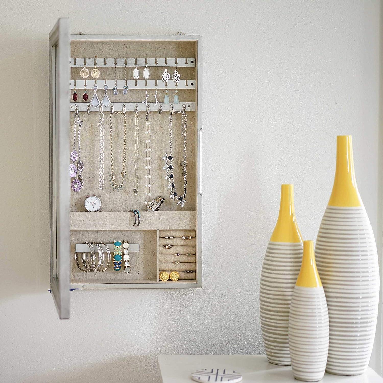 Hives and Honey Jamie Jewelry Storage Mirror Frame, Silver