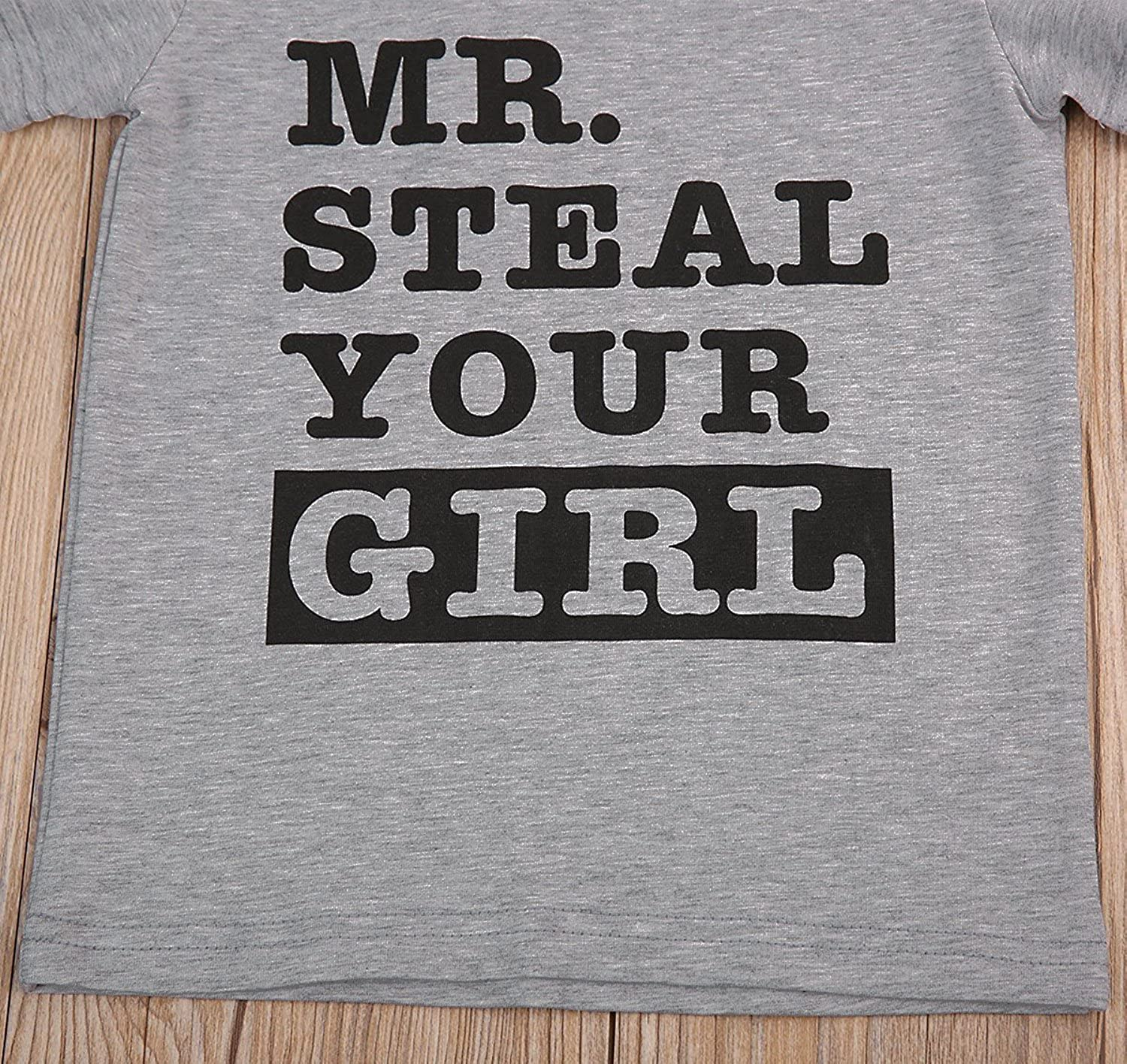 SWNONE Toddler Baby Boy Short Sleeve Letter Print Shirts Mr Steal Your Girl Clothes Outfit