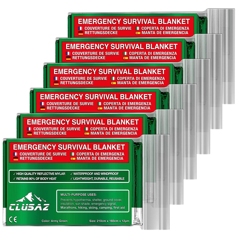 Manta de emergencia Aceituna XL 210x160cm (paquete de 6) por CLUSAZ - Retiene hasta el 90% del calor, Impermeable, Perfecto para Esquí , Marató n, Senderismo, Campamento, Primeros Auxilios, Seguridad vial - GARANTÍ A Perfecto para Esqu