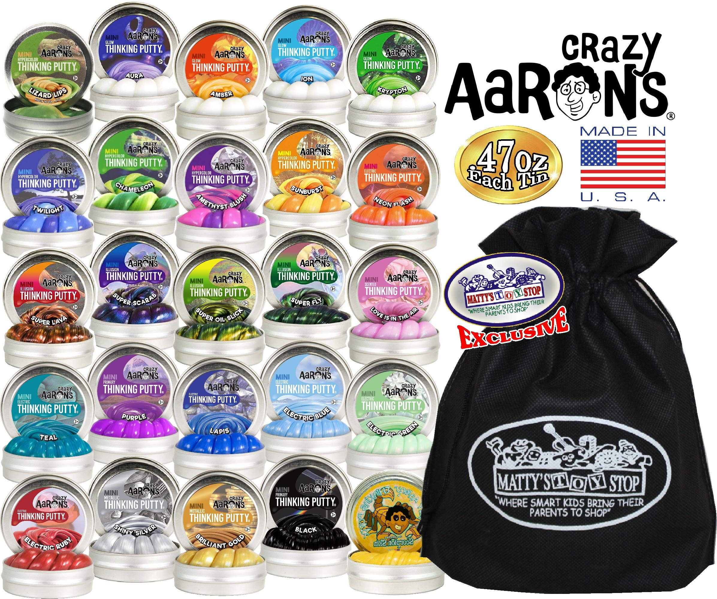 Crazy Aaron's Thinking Putty Mini Tins Deluxe Gift Set Bundle Featuring Glow, Hypercolor, Super Illusions, Scented, Electric, Primary, Metallic & Exclusive Matty's Toy Stop Bag - 25 Pack (.47 oz each) by Crazy Aaron's (Image #1)