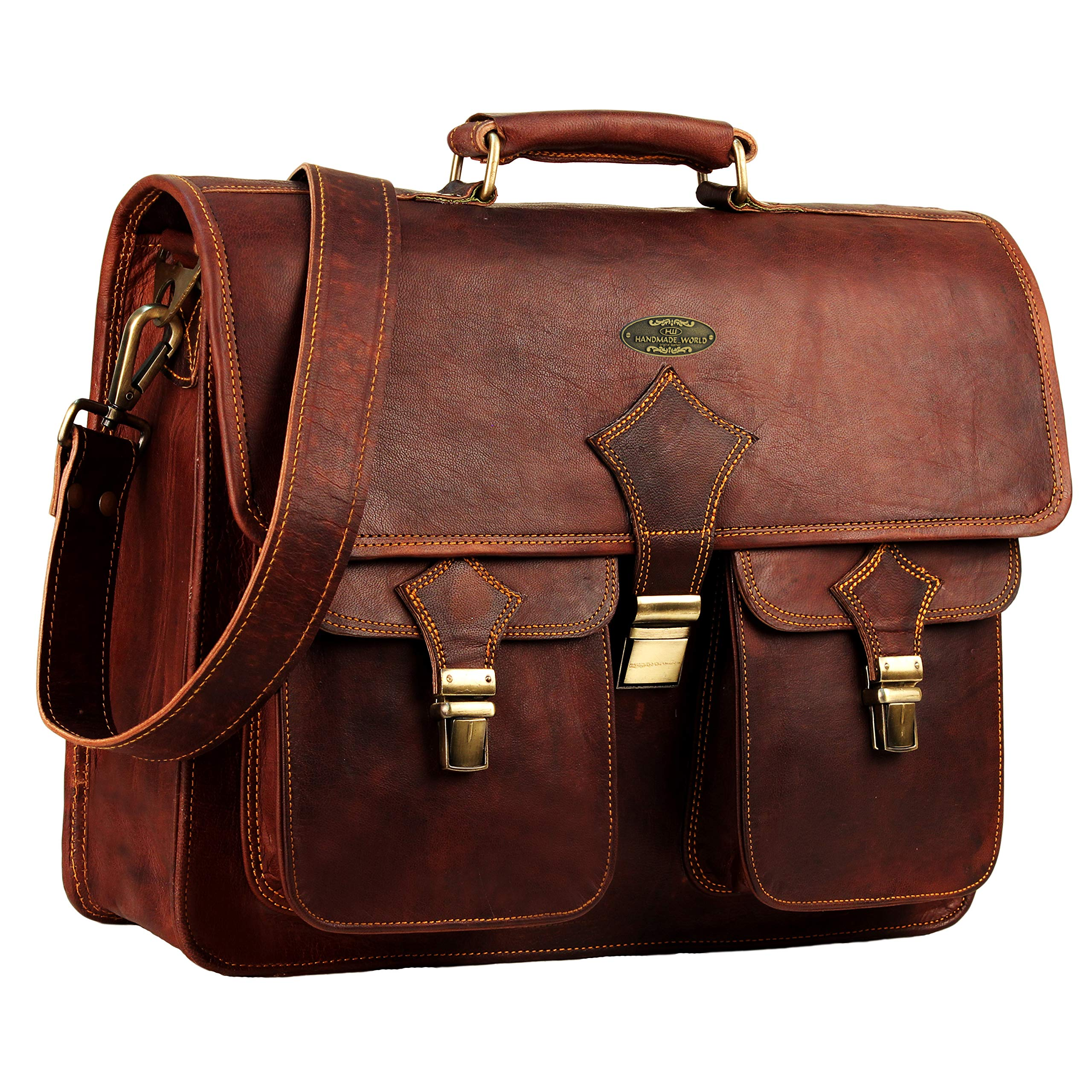 Vintage Leather Laptop Bags for Men Full Grain Large Leather Messenger bag for men 18 inches with rustic look Best leather briefcase by Hulsh by HULSH