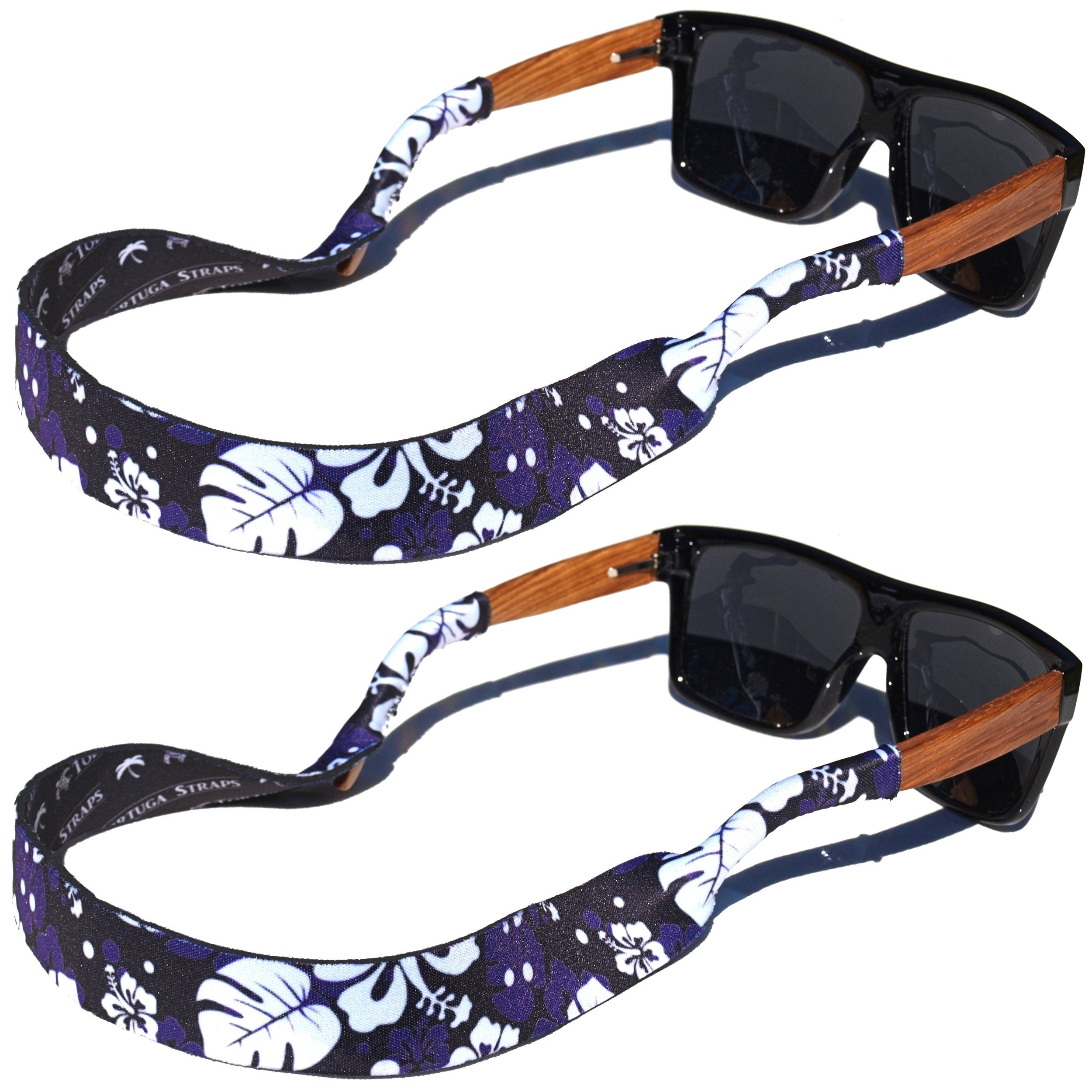 TORTUGA STRAPS FLOATZ Relaxed Fit Maui Blue Black -2 Pk Floating Sunglass Straps