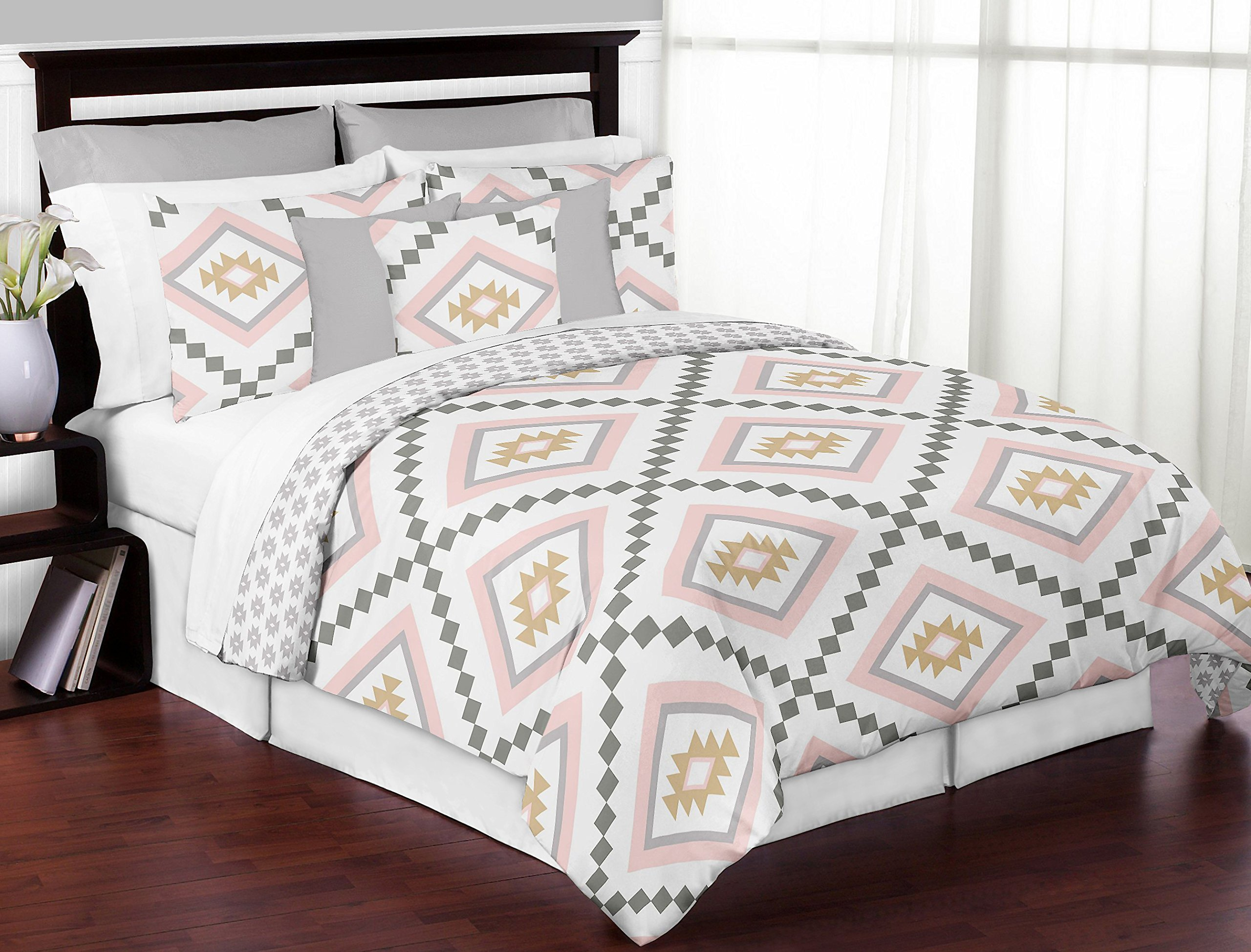 Sweet JoJo Designs 2-Piece Blush Pink and Grey Boho Decorative Accent Throw Pillows for Aztec Collection by