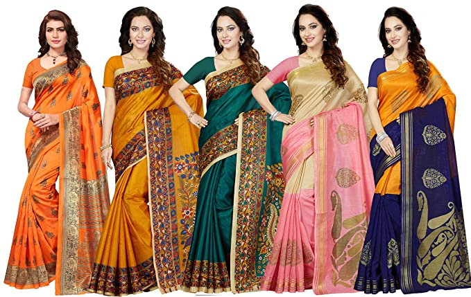 Ishin Combo of 5 Poly Silk Multicolor Printed Women's Saree.