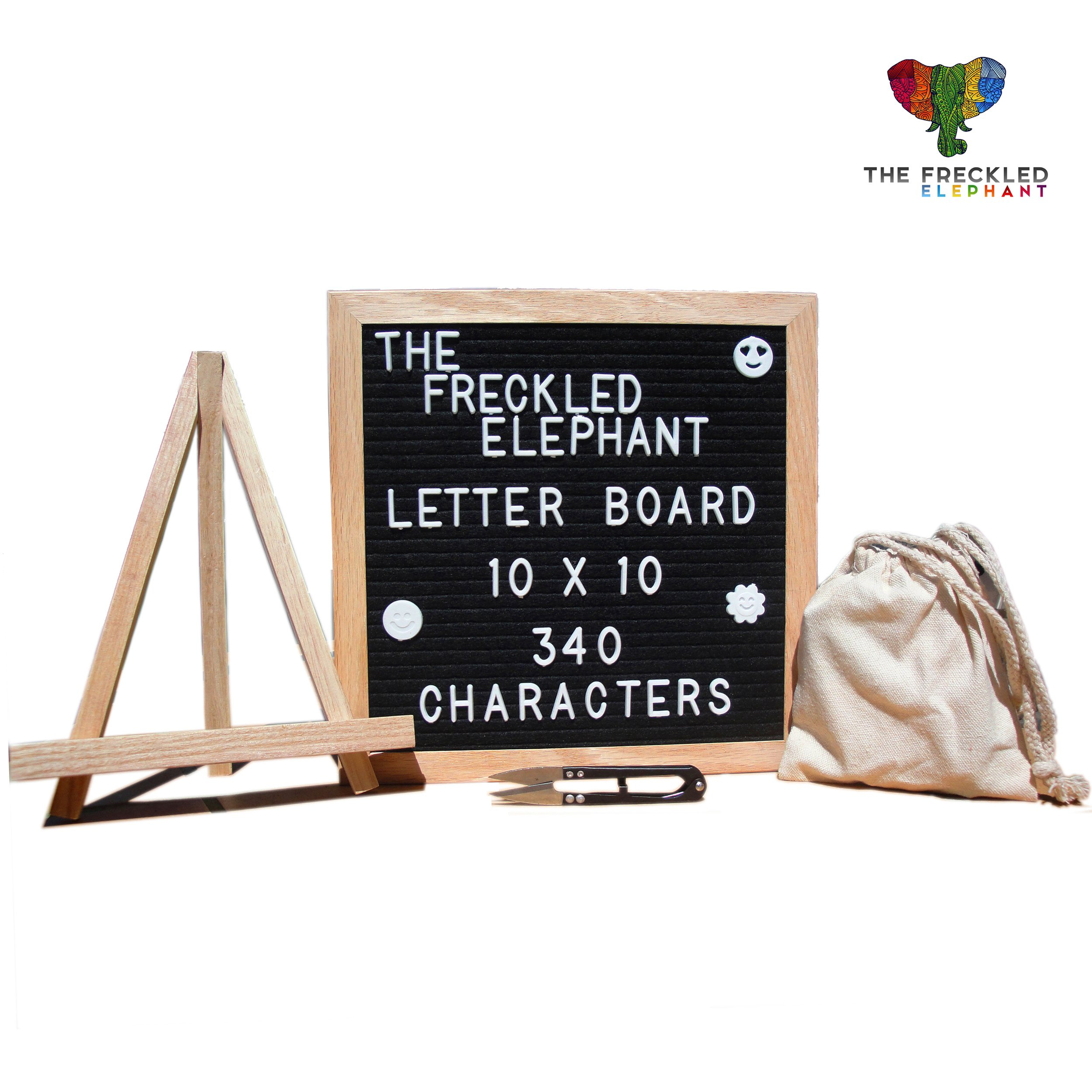 Letter Board by THE FRECKLED ELEPHANT - Wooden Black Felt Changeable Message Board 10x10 Inches - Solid Oak Wood Frame Board, 340 White Letters, Retractable Stand, Wall Mount, Canvas Bag & Cutter