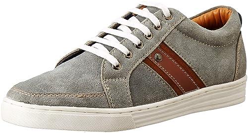 Numero Uno Men's Grey Leather Sneakers
