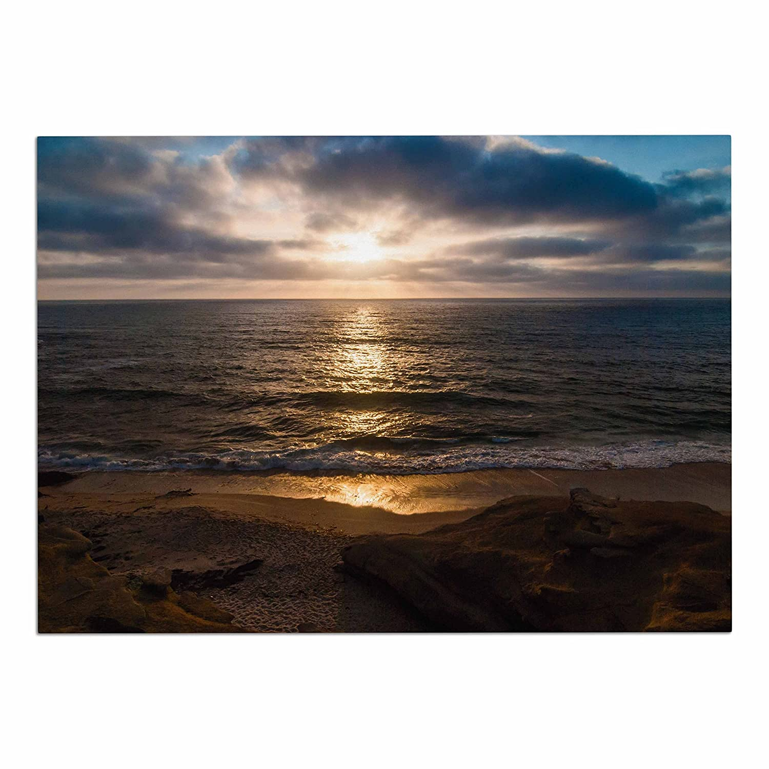 KESS InHouse Nick Nareshni La Jolla Sunset on Beach  bluee Dog Place Mat, 13  x 18