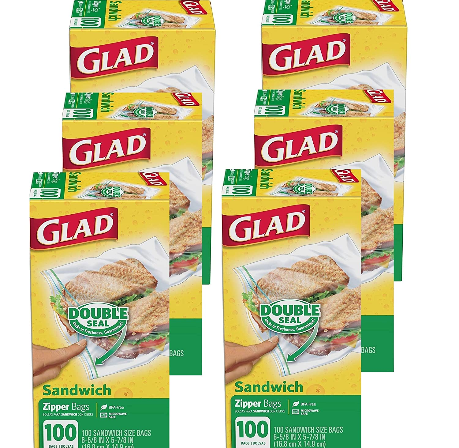 Glad Zipper Sandwich Bags Fold Lock Top - 100 Bags Ea. 6 Packs -Total 600 Bags