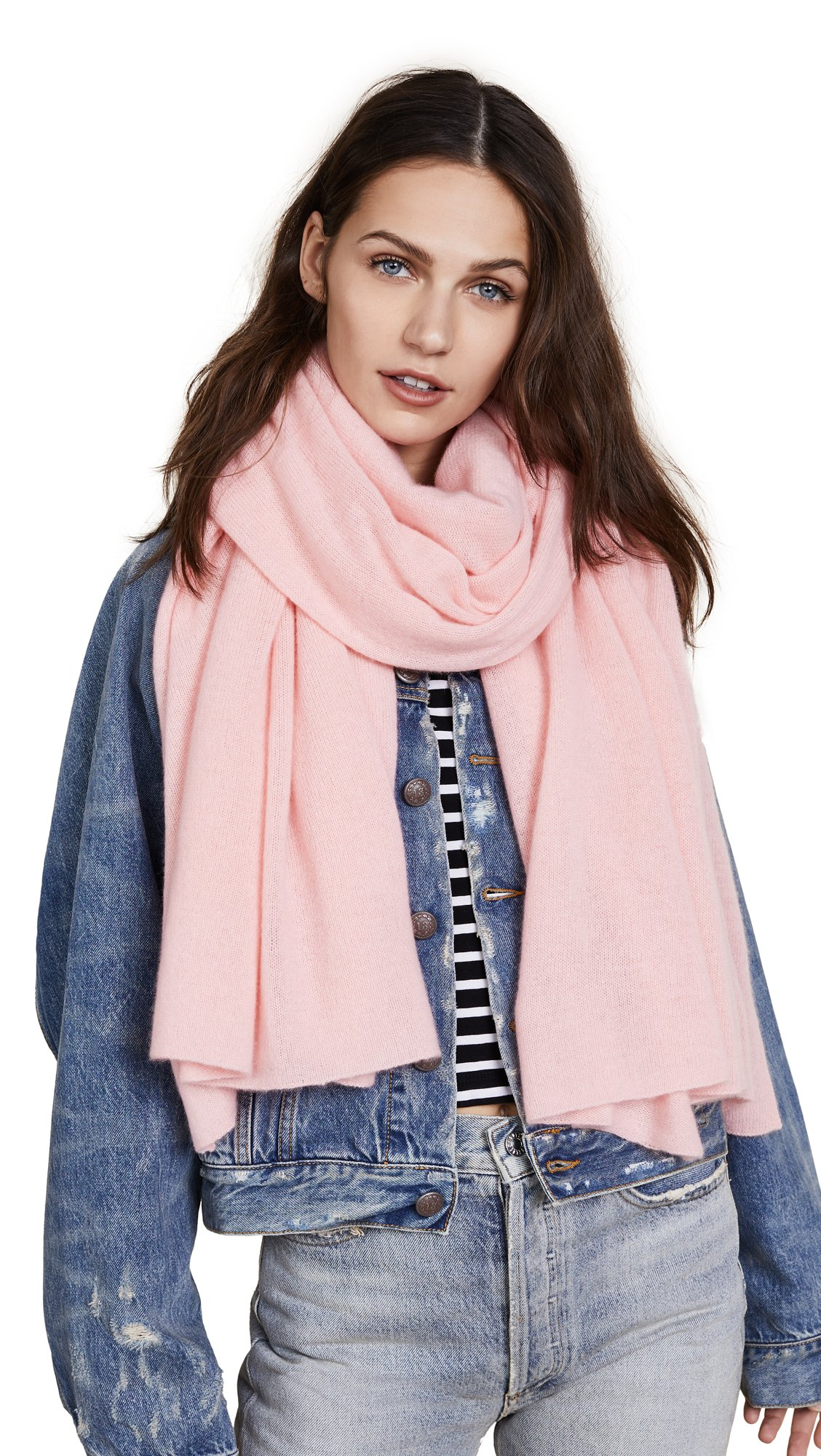 White + Warren Women's Cashmere Wrap Scarf, Peach Blush, One Size