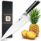 Couteaux de Cuisine Professionnelle 20 cm - Série Fox - Acier à Haut Carbone, Tranchage et hachage - Poignée en Bois d'ébène Noir
