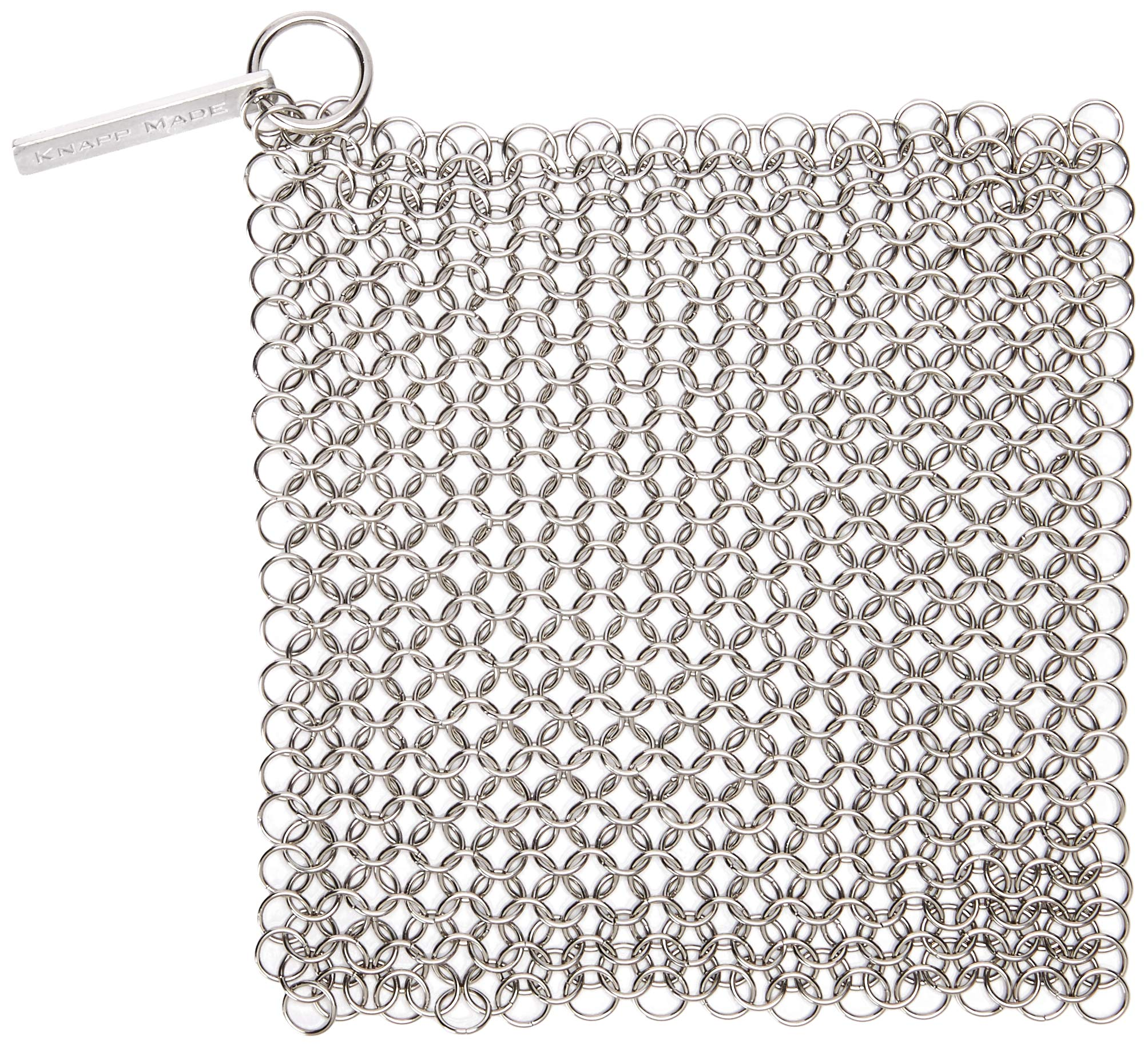 Knapp Made Small Ring Chainmail Scrubber - For Cast Iron, Premium Stainless Steel and Hard Anodized Cookware