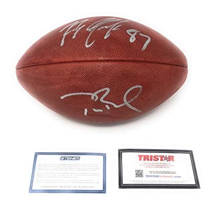 56946142a Image Unavailable. Image not available for. Color  Tom Brady Rob Gronkowski  New England Patriots Dual Signed Autograph NFL Authentic Duke Football ...