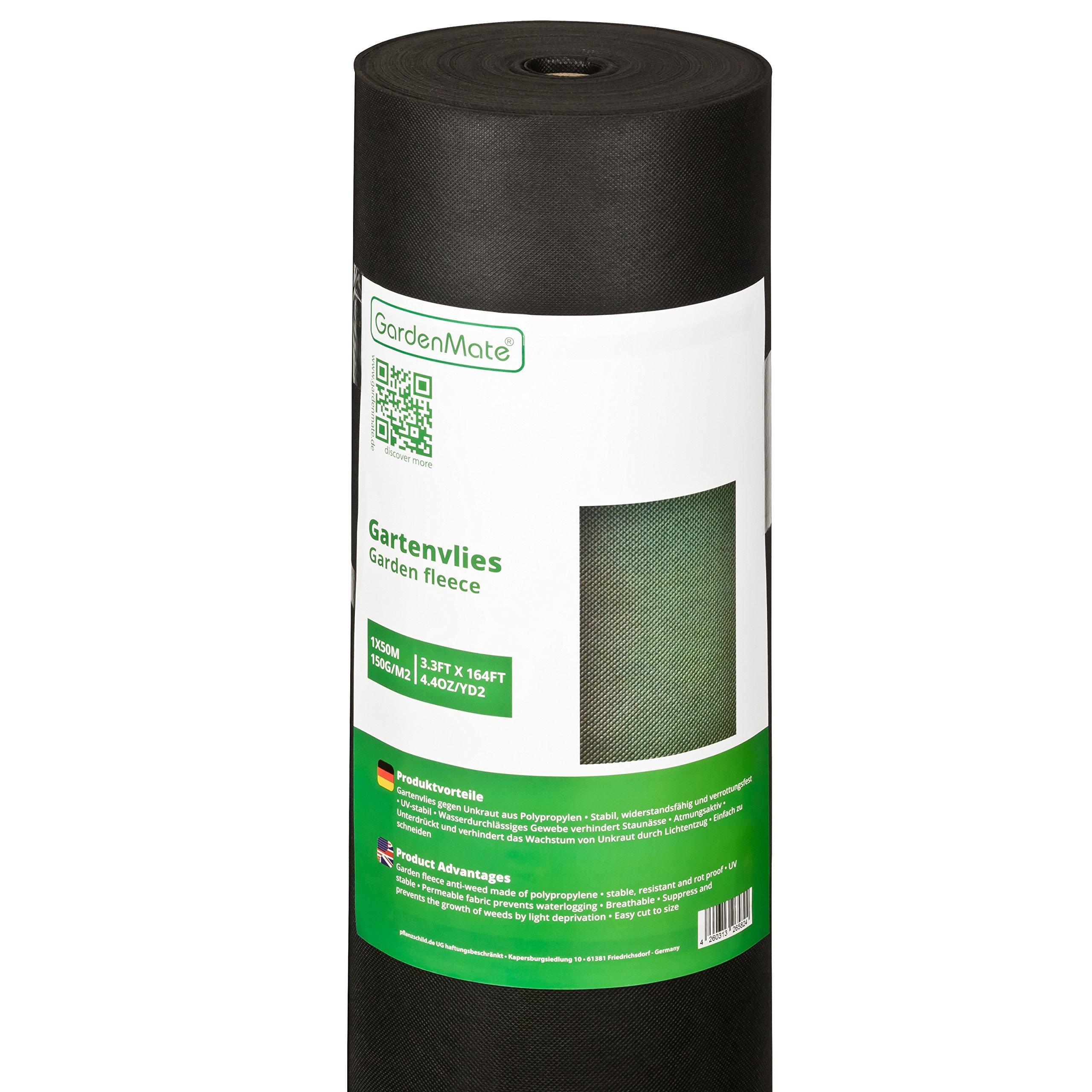 GardenMate 1mx50m Rolle 150g/m² Premium Gartenvlies - Unkrautvlies Extrem Reißfestes Unkrautschutzvlies - Hohe UV-Stabilisierung - Wasserdurchlässig - 1mx50m=50m² product image