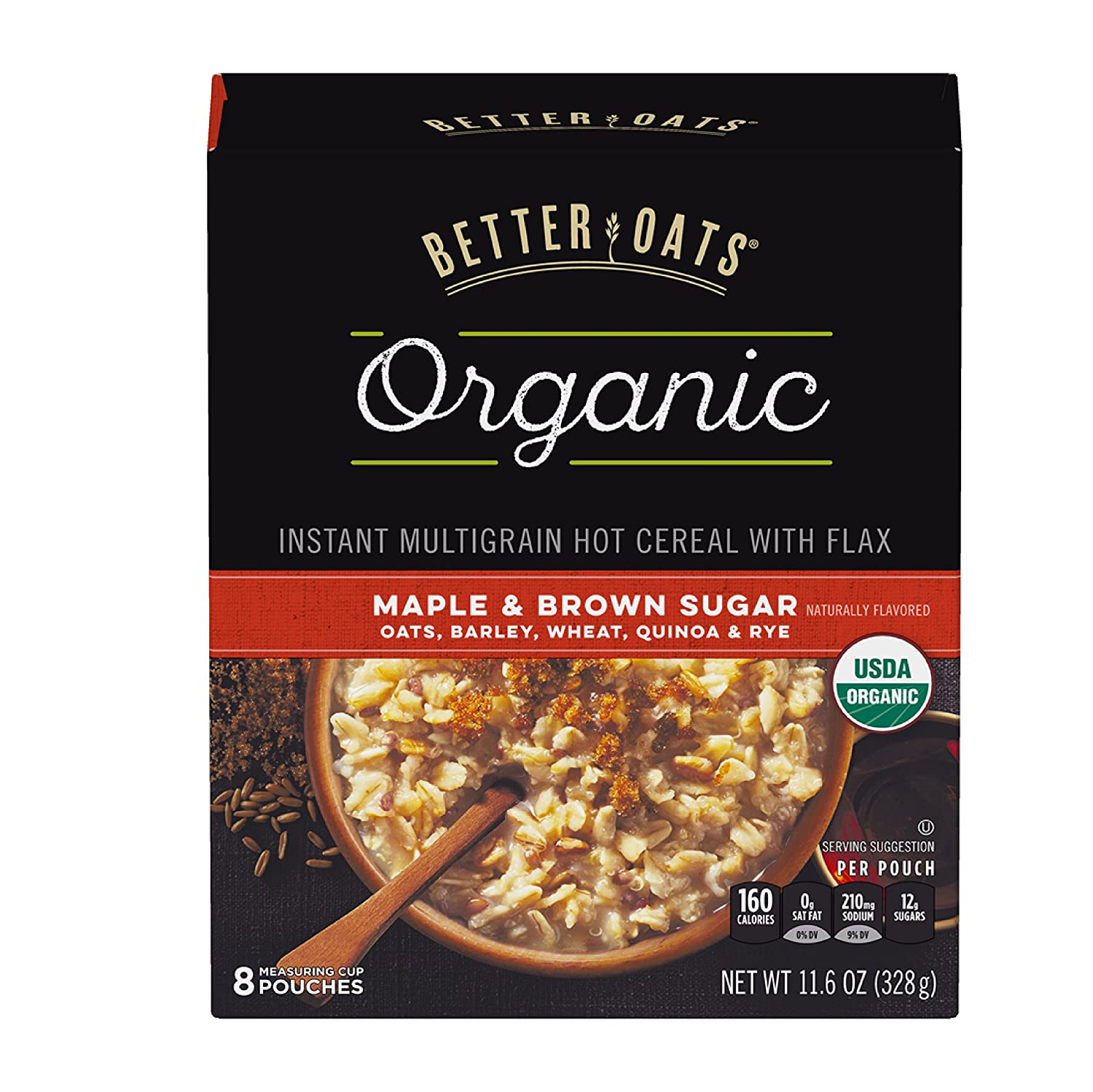 Post Better Oats Organic Instant Oatmeal with Flax Seeds and Quinoa, Maple and Brown Sugar Flavor, 11.6 Ounce