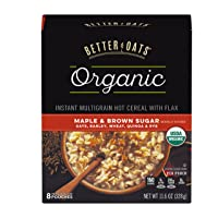 Post Better Oats Organic Instant Oatmeal with Flax Seeds and Quinoa, Maple and Brown...