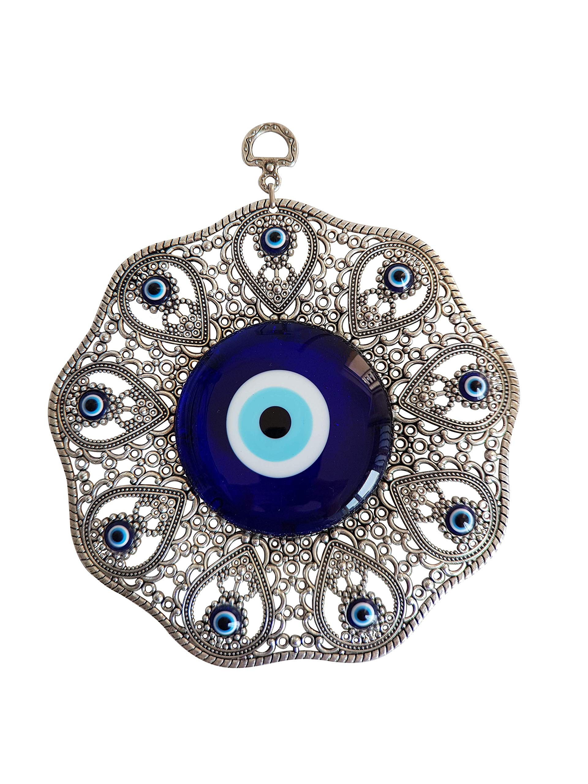 Turkish Big Glass Turkish Evil Eye Bead Home Protection Charm- Evil Eye Hangin Ornament Wall Decor (Silver)