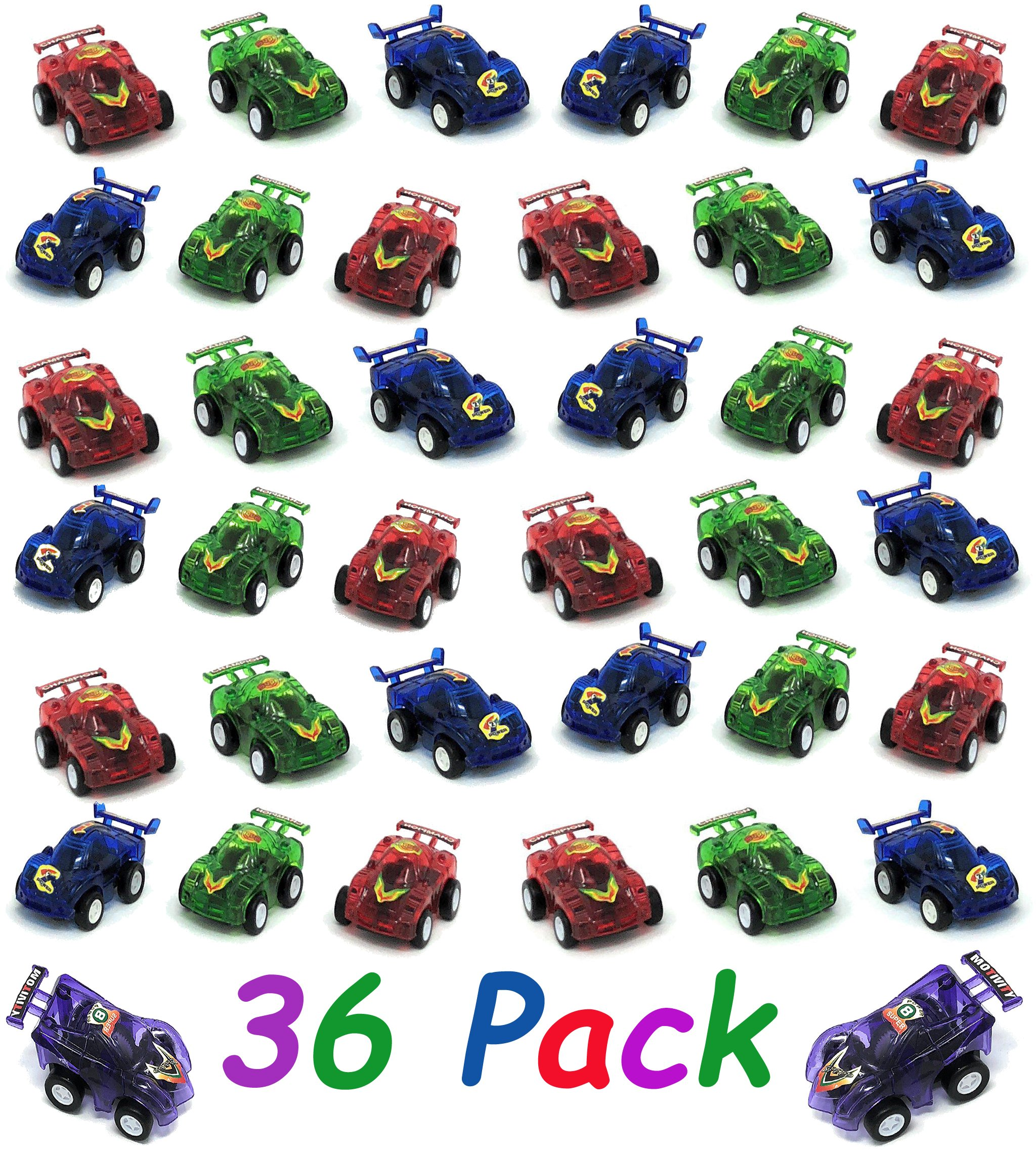 4E's Novelty 36 Pack Plastic Pullback Racing Cars, Assorted Party Pack For Kids, Fun Gift Party Giveaway, 2.5'' Assorted Colors