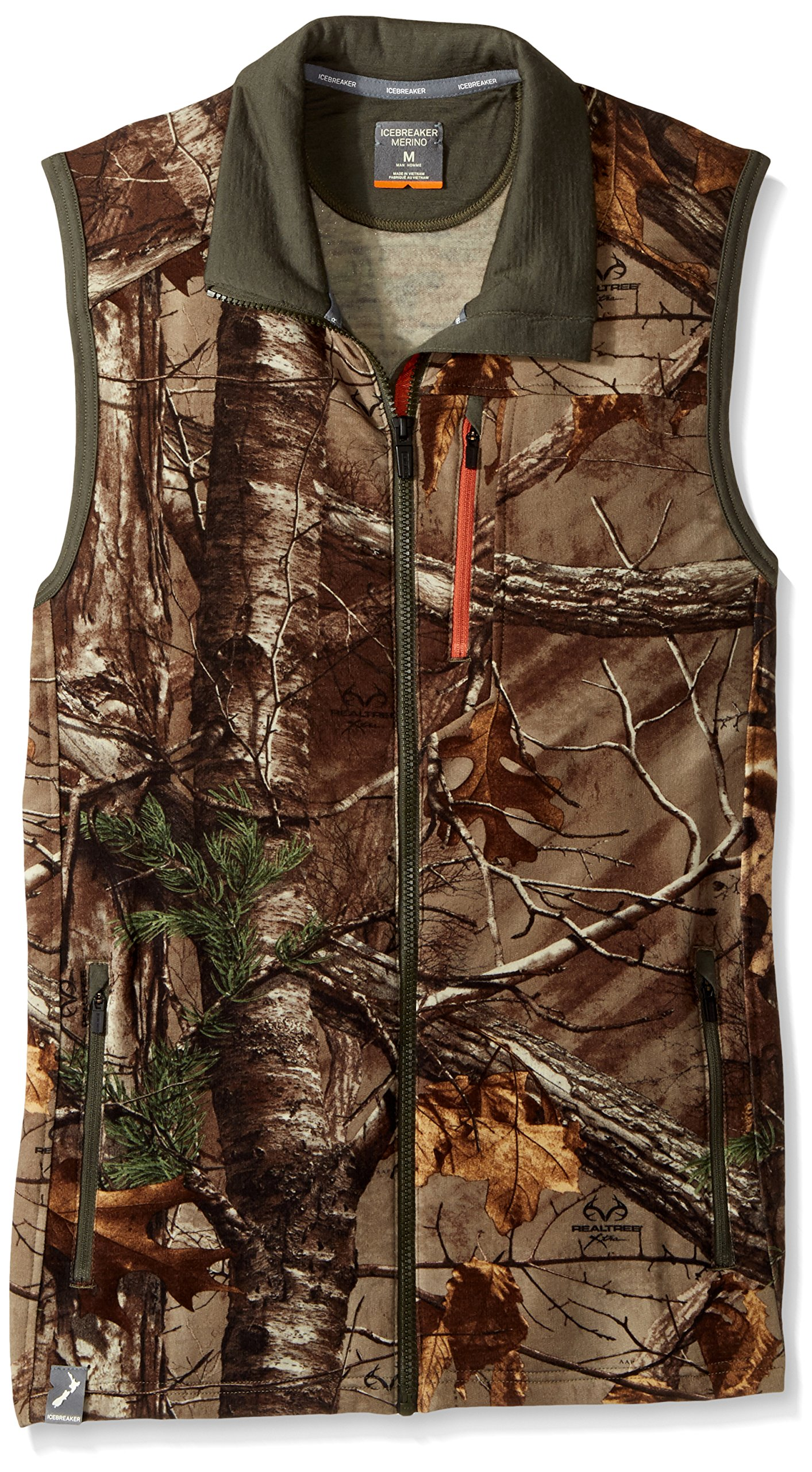 Icebreaker Men's Sierra Vest, Real Tree Xtra/Cargo/Copper, X-Large by Icebreaker Merino