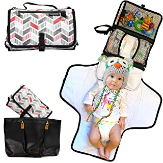 Soultisfy Portable Diaper Changing Pad - Lightweight and Waterproof Baby Mat with Crossbody Strap, Handle, Foam Pillow - 6-Pocket Storage for Diapers, Wipes, and Nappy Cream - Travel Change Station