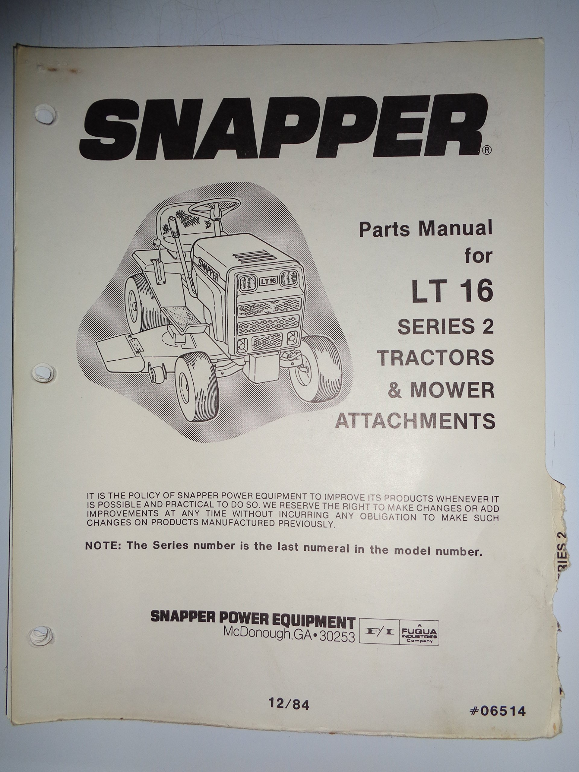 snapper series 2 model lt16 lawn garden tractor parts catalog book rh amazon com snapper lt16 owners manual Snapper LT 16 Parts Manual