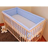 NURSERY BUMPER 420 cm LONG ALL ROUND BUMPER TO FIT BABY COT BED (GINGHAM BLUE)