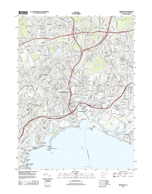 Amazon.com: Topographic Map Poster - BRIDGEPORT, CT TNM GEOPDF 7.5X7 ...