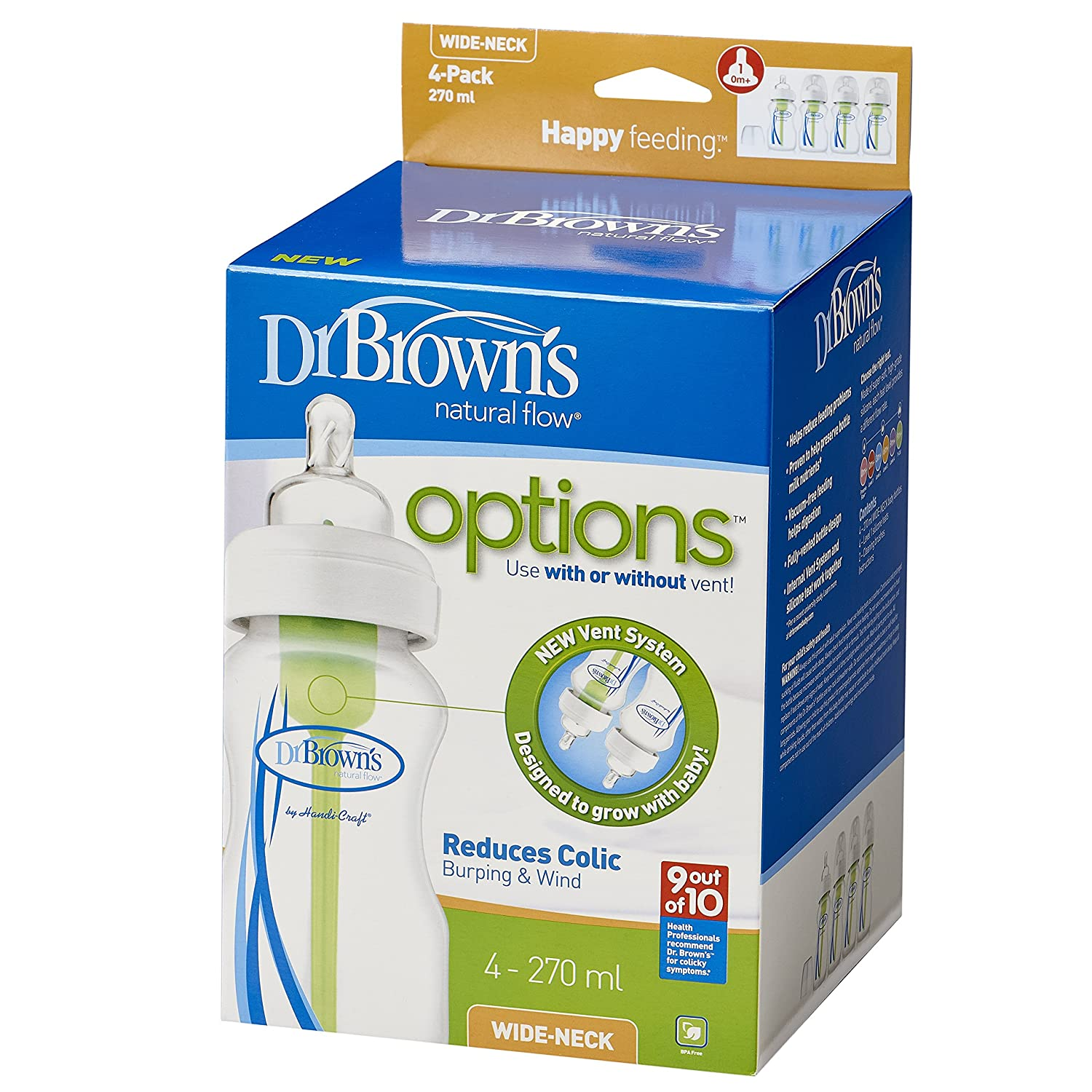 Dr Brown's Options Wide Neck Bottle (270 ml, Pack of 4): Amazon.co ...