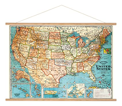 Buy cavallini vintage usa map hanging poster kit online at low cavallini vintage usa map hanging poster kit gumiabroncs Images