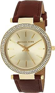 Michael Kors Womens Quartz Watch, Analog Display and Leather Strap MK2363