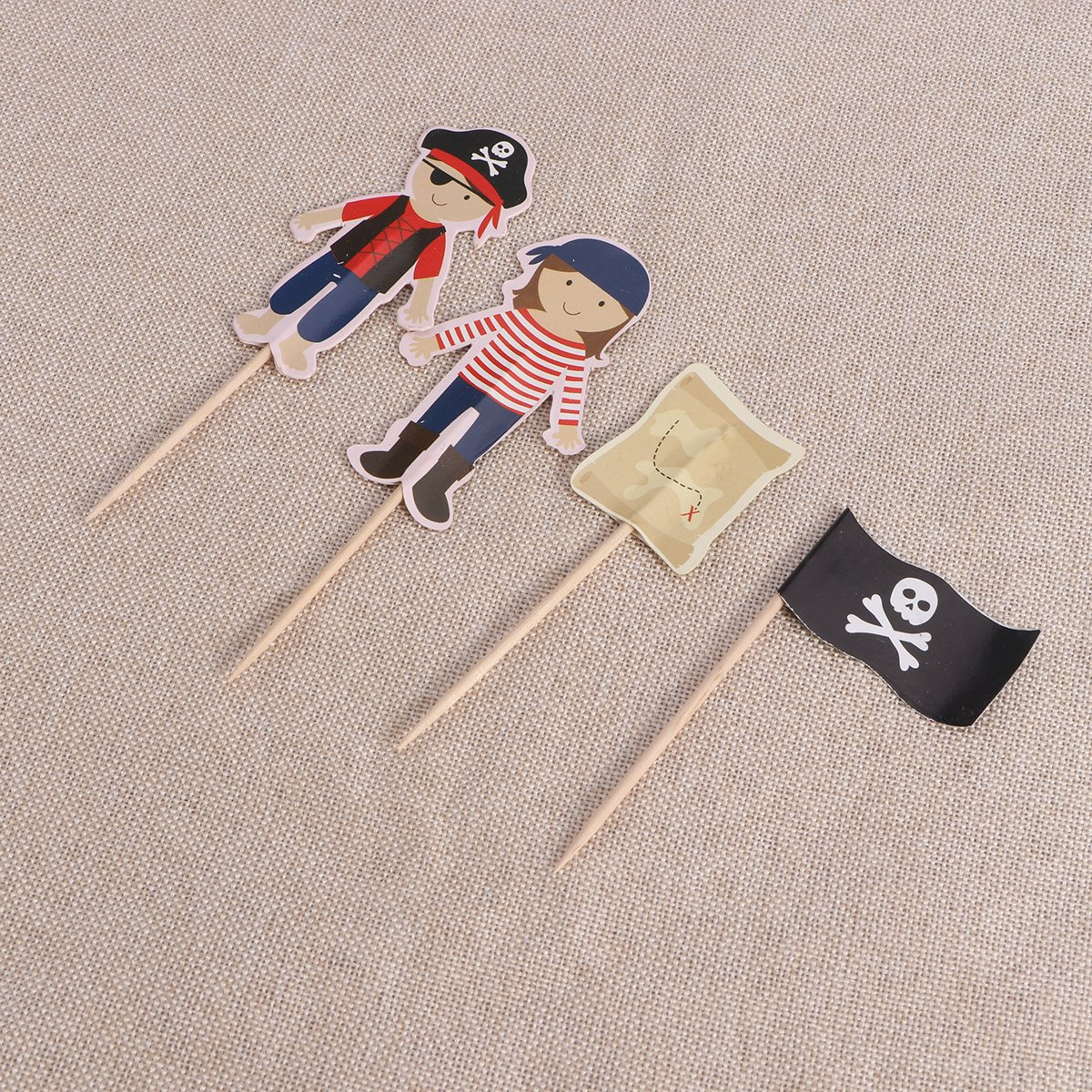 Tinksky Pirate Cake Bunting Toppers Flag Banner Picks Wrap Kit for Kids Birthdays Random Color