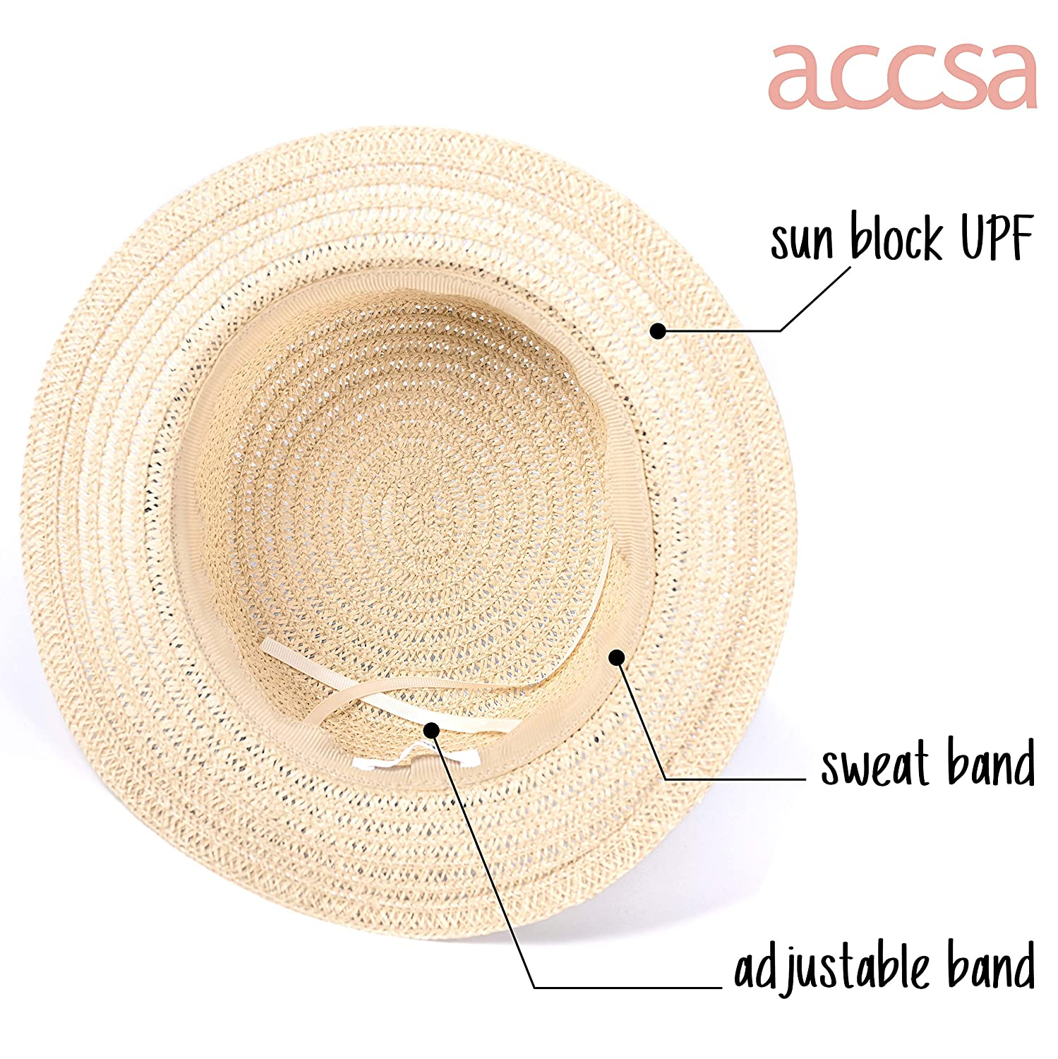 219f1f7b Amazon.com: accsa Women Straw Sun Panama Top Hat Summer Beach Cap with  Black and White Ribbon Band: Clothing