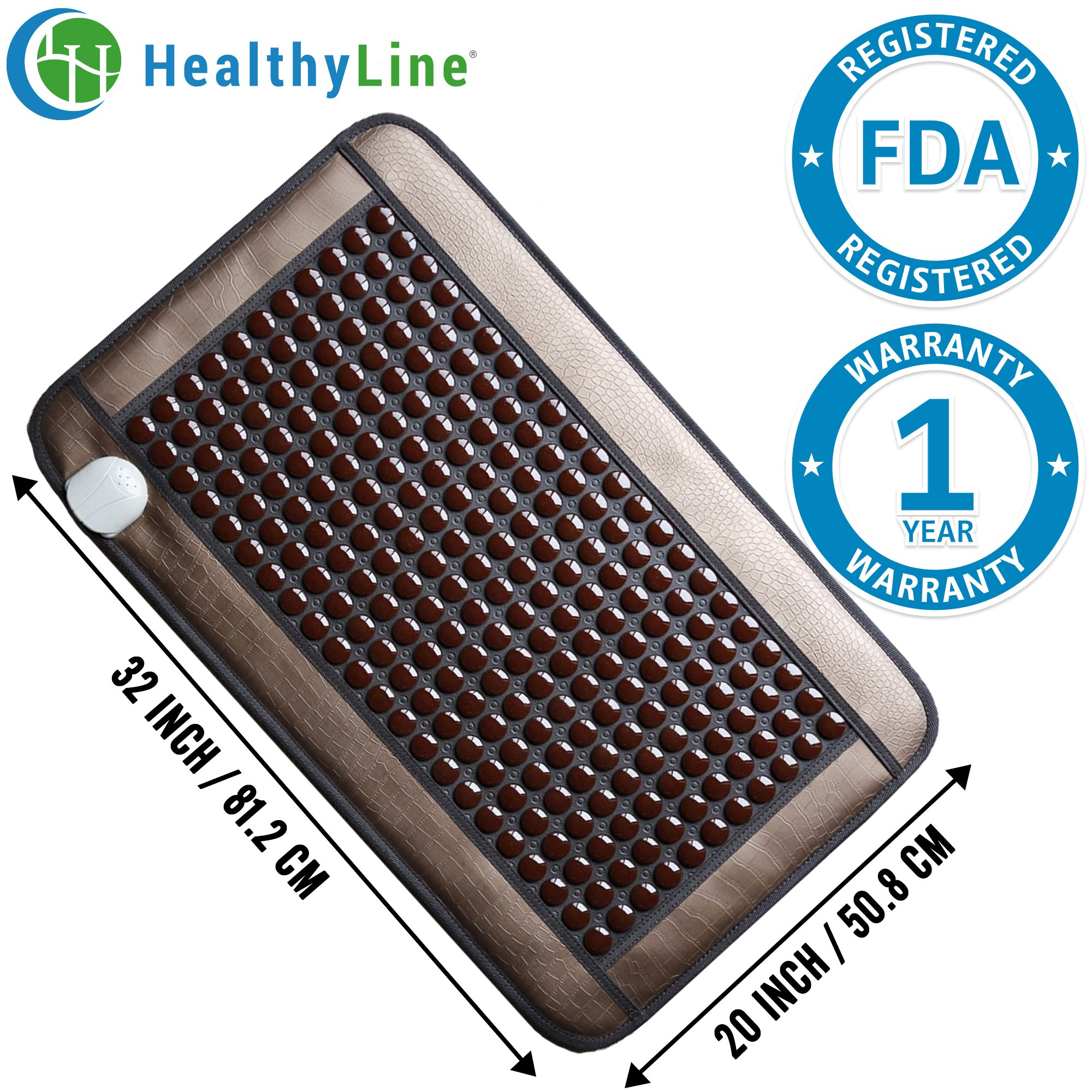 HealthyLine Far Infrared Heating Pad|Natural Tourmaline Healing Pad 32''x 20'' | Negative Ions Heating Pad (Medium & Firm) |Relieve Muscles, Joints, Nerves & Bones Pain | FDA Registered