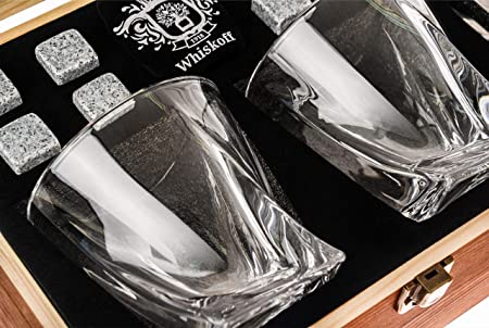 Juego de 2 vasos de whisky Twist. Set de regalo de piedras de whisky Bourbon. Juego de pinzas, posavasos, piedras de enfriamiento y gafas de bar - vaso de whisky en caja de regalo de madera