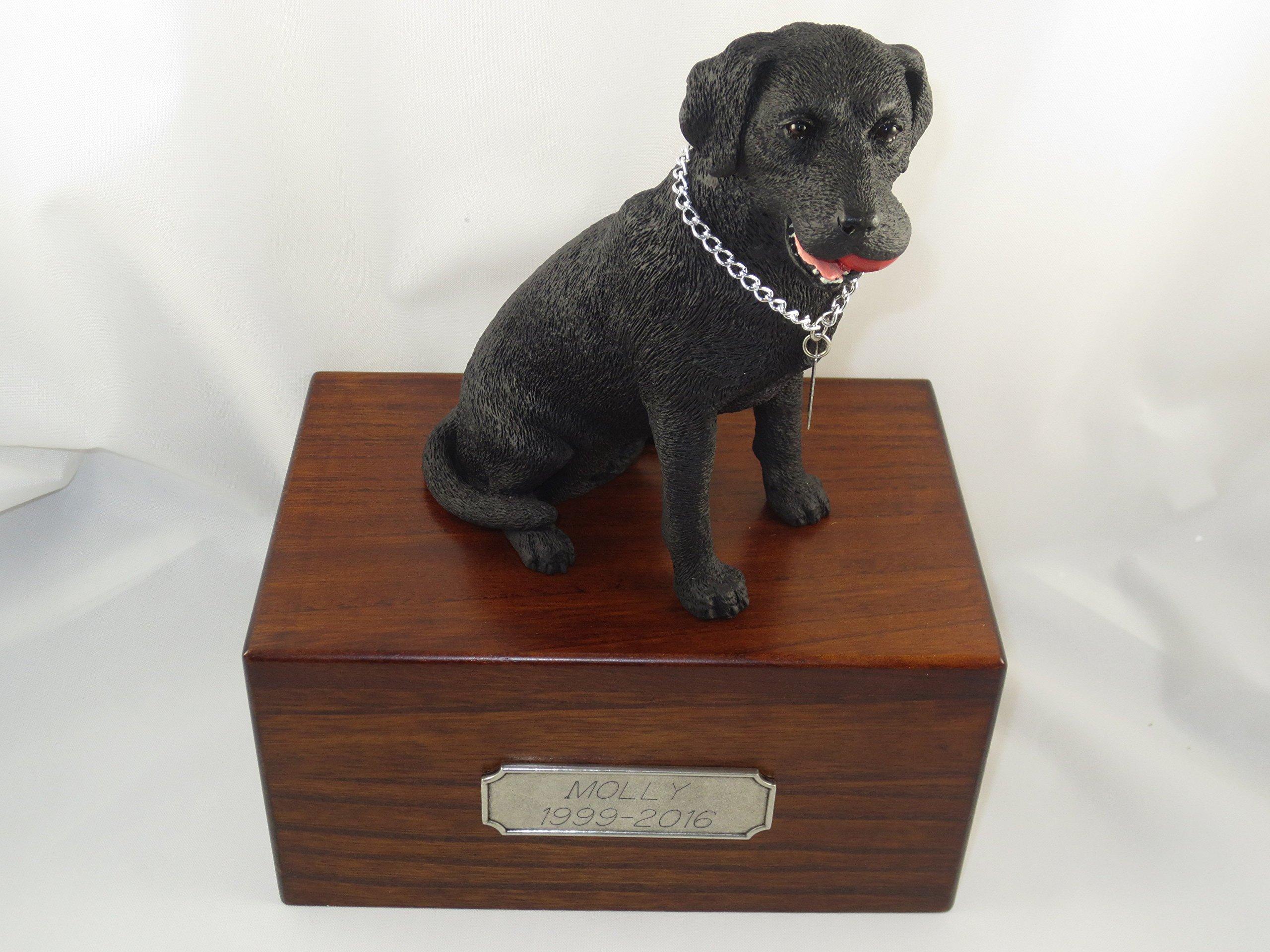 Beautiful Paulownia Medium Wooden Urn with Black Labrador Lab Retriever ''My Dog'' Large Figurine & Pewter Personalized Engraving