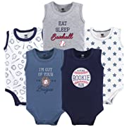 Hudson Baby Unisex Baby Sleeveless Cotton Bodysuits, Baseball 5-Pack, 3-6 Months (6M)