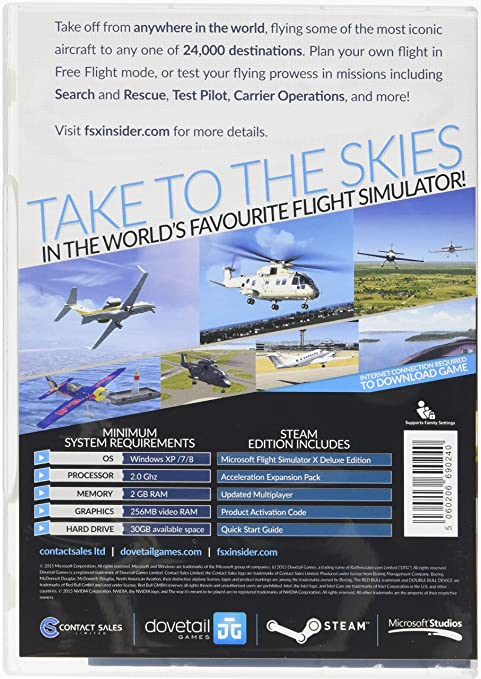 amazon com microsoft flight simulator x steam edition boxed steam rh amazon com Flight Simulator 2017 Microsoft Flight Simulator X Deluxe