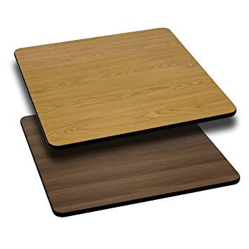 30u0027u0027 Square Table Top With Natural Or Walnut Reversible Laminate Top