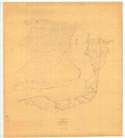 Amazon.com: Vintography 18 x 24 Canvas 1842 US Old Nautical map ...