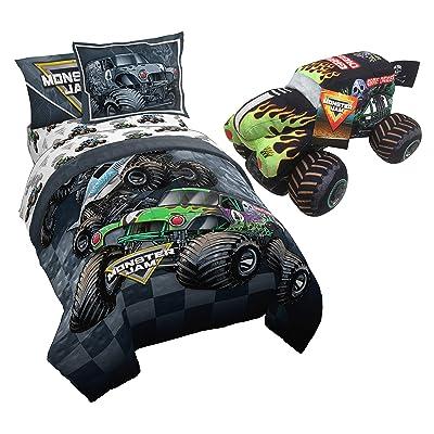 Monster Jam Slash Full Bed Set & Grave Digger Pillow Buddy Bundle: Home & Kitchen
