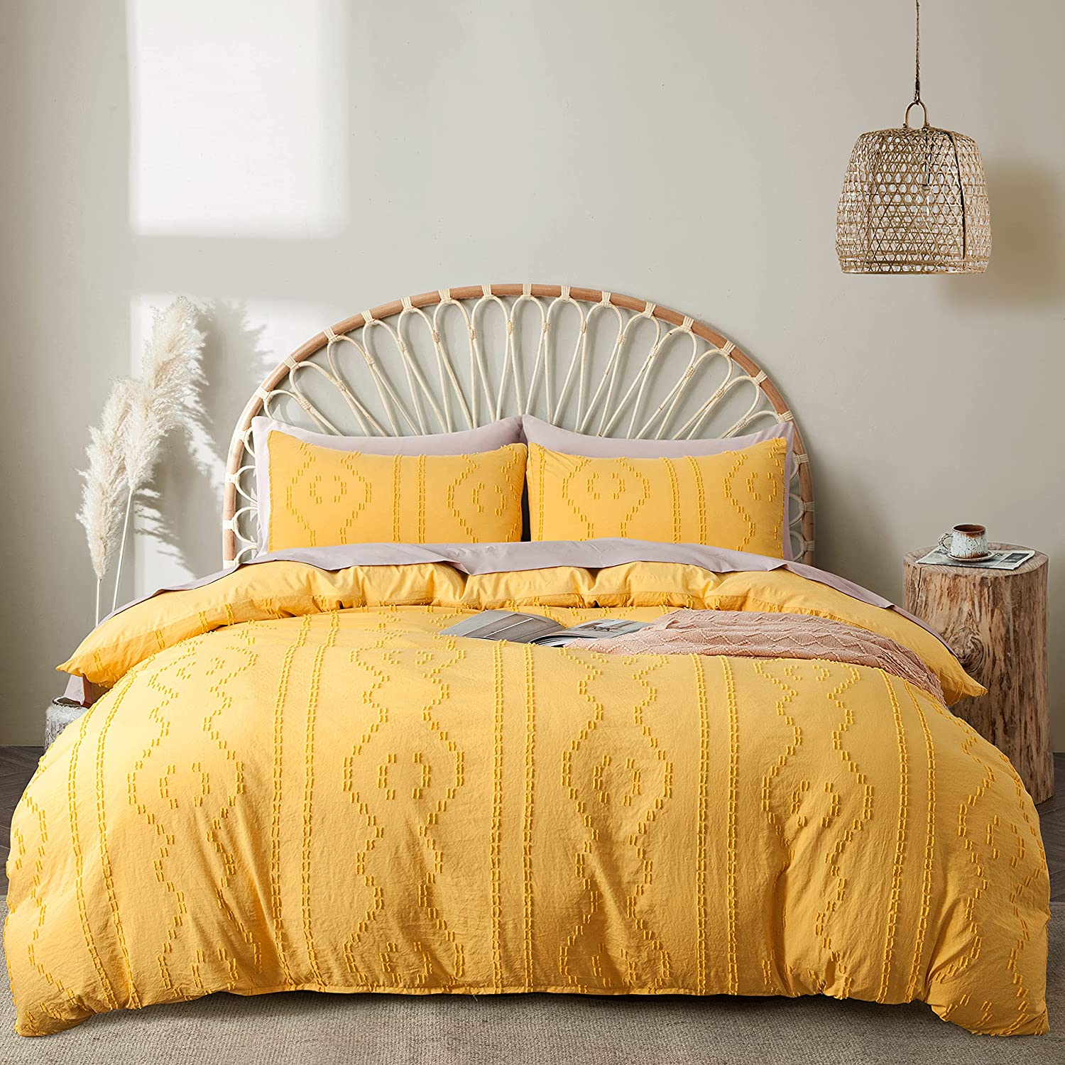 BEDAZZLED Duvet Covers King Size,3pcs Soft and Embroidery Shabby Chic Boho Bedding Sets,100% Washed Microfiber Tufted Comforter Cover Set,Yellow