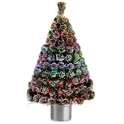 National Tree 48 Inch Fiber Optic Flocked Evergreen Tree with Multicolored  Lights in Silver Base ( - Amazon.com: National Tree 48 Inch Fiber Optic Flocked Evergreen Tree