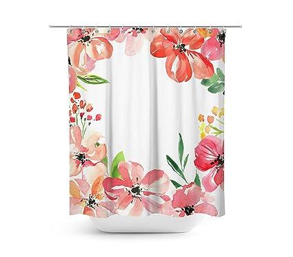 Livilan Romantic Pink Floral Shower Curtain Set 708quot X Decorative Waterproof Quick